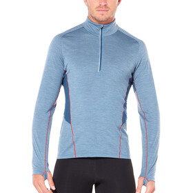 Icebreaker Strike Lite LS Half Zip Shirt Men Granite Blue Heather/Prussian Blue